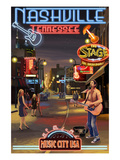 Nashville, Tennessee - Broadway at Night Schilderij van  Lantern Press