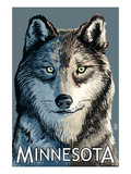 Minnesota - Wolf Up Close Prints by  Lantern Press