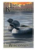 Lake Koshkonong, Wisconsin - Loons Posters par Lantern Press