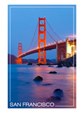 San Francisco, California - Golden Gate Bridge at Night Art by  Lantern Press
