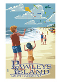 Lantern Press - Pawleys Island, South Carolina - Kite Flyers - Poster