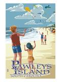 Lantern Press - Pawleys Island, South Carolina - Kite Flyers - Poster