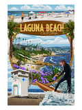 Laguna Beach, California - Montage Scenes Poster von  Lantern Press