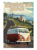 Manhattan Beach, California - VW Van Cruise Prints by Lantern Press