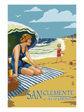 San Clemente, California - Woman on the Beach Posters by  Lantern Press