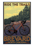 Brevard, North Carolina - Ride the Trails Bicycle Lámina por Lantern Press