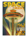 Space Needle and Full Moon - Seattle, WA Art by  Lantern Press