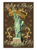 Statue of Liberty National Monument - New York City, NY - Brown Posters by  Lantern Press
