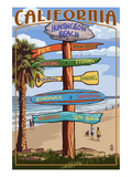 Huntington Beach, California - Destination Sign Prints by  Lantern Press