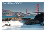 San Francisco, California - Golden Gate Bridge and Beach Prints by  Lantern Press