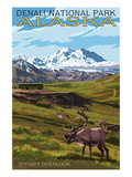 Denali National Park, Alaska - Caribou and Stoney Overlook Kunstdrucke von  Lantern Press