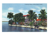 Miami Beach, Florida - Bayfront Home View Prints by Lantern Press
