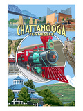 Chattanooga, Tennessee - Montage Scenes Prints by  Lantern Press