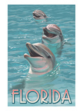 Dolphin Trio - Florida Poster di  Lantern Press