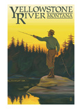 Yellowstone River, Montana - Fly Fishing Scene Print by  Lantern Press