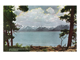 Lake Tahoe, California - Glenbrook, Lake View Through the Pines Poster von  Lantern Press