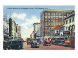 St. Petersburg, Florida - Central Avenue Scene Prints by  Lantern Press