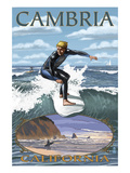 Cambria, California - Surfer Scene Print by  Lantern Press