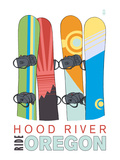 Hood River, Oregon - Snowboards in Snow Posters by  Lantern Press