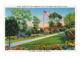 San Diego, California - Old Town Plaza Flagpole View Poster by  Lantern Press