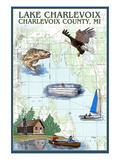 Lake Charlevoix, Michigan - Nautical Chart Art by  Lantern Press
