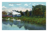 Battle Creek, Michigan - Train Along the Battle Creek River Scene Posters by Lantern Press