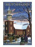 Williamsburg, Virginia - Bruton Parish in Snow Prints by  Lantern Press