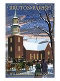 Williamsburg, Virginia - Bruton Parish in Snow Prints by  Lantern Press