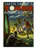 Santa Monica, California - Zombie Apocalypse Prints by  Lantern Press