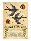 Tattoo Flash Sheet - Swallow Kunstdrucke von  Lantern Press