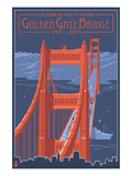 Golden Gate Bridge and Skyline - 75th Anniversary - San Francisco, CA Prints by Lantern Press