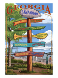 Savannah, Georgia - Sign Destinations Posters by Lantern Press