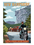 New Hampshire - Motorcycle Scene and Old Man of the Mountain Prints by Lantern Press