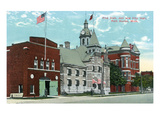Port Huron, Michigan - Fire Hall, Jail, and City Hall Exterior View Posters by Lantern Press