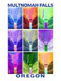 Multnomah Falls, Oregon - Pop Art Prints by  Lantern Press