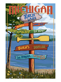 Torch Lake, Michigan - Sign Destinations Poster by  Lantern Press