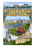 Pittsburgh, Pennsylvania - Montage Scenes Poster by  Lantern Press