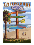 Hermosa Beach, California - Destination Sign Poster by Lantern Press 