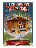Lake Geneva, Wisconsin - Cabin in Woods Prints by  Lantern Press