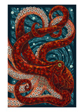 Octopus - Paper Mosaic Poster von  Lantern Press