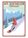 Mt. Bachelor, Oregon - Snowboarder Scene Print by  Lantern Press