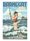 Barnegat Light, New Jersey - Pinup Girl Fishing Prints by  Lantern Press