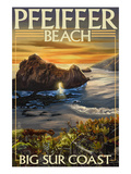 Pfeiffer Beach, California Póster por Lantern Press