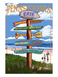Erie, Pennsylvania - Sign Destinations Poster by  Lantern Press