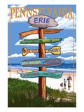 Erie, Pennsylvania - Sign Destinations Poster by  Lantern Press