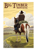 Big Timber, Montana - Cowboy on Bluff Prints by  Lantern Press