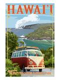 VW Van - Hawaii Volcanoes National Park Reproduction giclée Premium par  Lantern Press