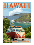 VW Van - Hawaii Volcanoes National Park Print by  Lantern Press
