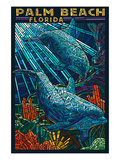 Palm Beach, Florida - Dolphins Paper Mosaic Poster by Lantern Press