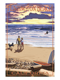 Huntington Beach, California - Sunset Beach Scene Prints by  Lantern Press
